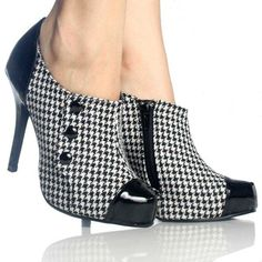 Houndstooth Ankle Booties Platform Stiletto High Heel Womens Shoes