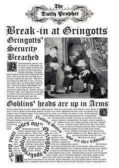 A replica Daily Prophet from the first movie, Philosoper's Stone. the headline is the break-in at gringotss just after Harry and Hagrid visit Diagon All. Daily Prophet- Gringotts break-in Gina Harry Potter, Harry Potter Newspaper, Poster Harry Potter, Objet Harry Potter, Harry Potter Bedroom, Mundo Harry Potter, Images Harry Potter, Theme Harry Potter, Harry Potter Aesthetic