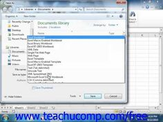 Learn about working with Excel file formats in Microsoft Excel at http://www.teachucomp.com. A clip from Mastering Excel Made Easy v. 2010. Get the complete tutorial FREE at http://www.teachucomp.com/free - the most comprehensive Excel tutorial available. Visit us today!