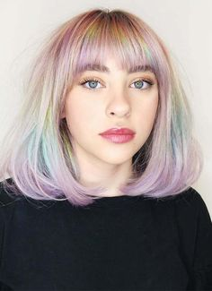 Modern Ideas Of Pastel Medium Haircuts with Bangs in 2019 – Haircut Ideas Layered Haircuts For Medium Hair, Medium Hair Cuts, Short Hair Cuts, Medium Hair Styles, Short Hair Styles, Temporary Hair Color, Pastel Hair, Pastel Rainbow Hair, Colorful Hair