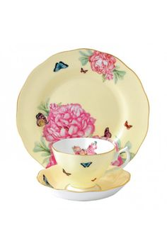 By Miranda Kerr for Royal Albert Joy 3-Piece Tea Place Setting.  Waterford Wedgwood Royal Doulton, San Marcos, TX or call 1-800-203-4540 or 512-396-4025.