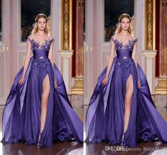 2015 Zuhair Murad New Arrival Sexy A Line Illusion Neckline Beads Crystal Pleat Side Slit Floor Length Chiffon Party/Prom Dresses Tight Prom Dresses Vintage Prom Dress From Linlin5518, $117.81| Dhgate.Com
