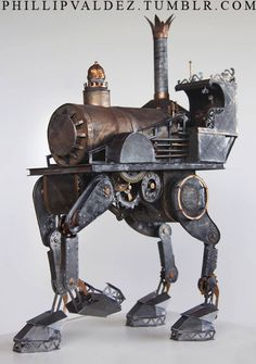 Even in papercraft form, the card edges and locomotive chassis of the piston-engine design lurking beneath every smokestack of a steampunk design retains a particular majesty.