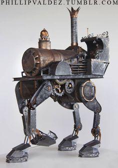 Papercraft, steampunk Iron Horse