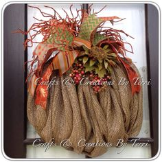FALL Wreath Pumpkin Wreath Burlap Pumpkin by CreatedByTerri