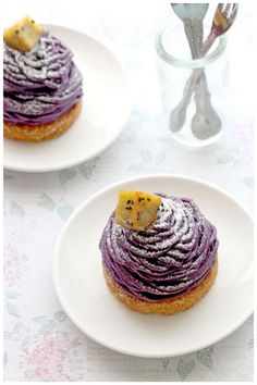 """Purple Sweet Potato Mont Blanc (紅いも モンブラン)"" - With Daigaku Imo (大学芋) topping… Ube Recipes, Cupcake Recipes, Baking Recipes, Sweet Recipes, Cupcake Cakes, Dessert Recipes, Mini Desserts, Asian Desserts, Just Desserts"