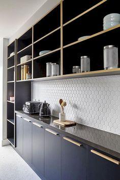 Stunning geometric backsplash tile kitchen ideas 52