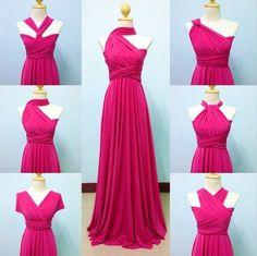 Long Hot Pink Bridesmaid Infinity Dress Convertible Multiway Cocktail Maxi Party #Unbranded #InfinityconvertibleBallGownBeachDressEmpireWaistMaxiSheathWrapDress #FormalCocktailPartyandWedding