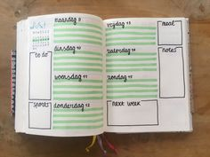Bullet journal weekly spread!! Green lines