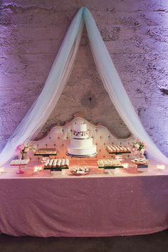 Use a beautiful headboard as your dessert table backdrop.