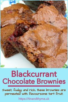 Blackcurrant chocolate brownies are a great way to use up any blackcurrants you're not quite sure what to do with. The brownies, are sweet, rich and fudgy and they're permeated most delightfully with flavoursome tart fruit. Brownie Recipes, My Recipes, Sweet Recipes, Baking Recipes, Whole Food Recipes, Cookie Recipes, Recipies, Dessert Recipes, Desserts To Make