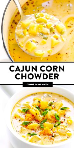 LOVE this zesty Cajun Corn Chowder recipe! It's lightened up with healthier ingredients, including lots of protein-packed lentils and creamy coconut milk, and it's the perfect dinner recipe for summer and fall. Tasty Vegetarian Recipes, Vegetarian Dinners, Vegan Soups, Veggie Recipes, Healthy Dinner Recipes, Vegetarian Cooking, Vegetarian Corn Chowder, Healthy Fall Soups, Vegetarian Sandwiches