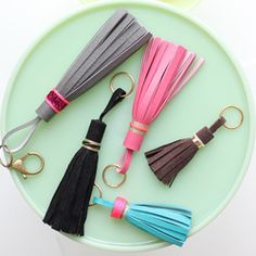 Make these fun & easy leather tassels in just a few steps! Perfect accessory for your purse or keys.