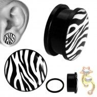 Wholesale Body Jewelry White Zebra Print Body Jewelry PA11-3 Product Code: PA11-3 Body, Plugs, Cufflinks, Jewelry, Accessories, Jewlery, Corks, Jewerly, Schmuck