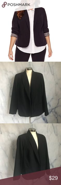 Worthington Black Blazer Longsleeve blazer, jacket with grey striped lining. Looks cute with the sleeves cuffed. Collar, pockets. Worthington, size 2X plus size. 75% polyester 19% rayon 6% spandex. Machine wash.Also selling in teal and maroon. Bundle for a discount! Worthington Jackets & Coats Blazers
