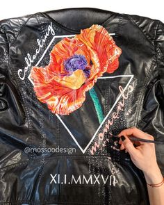 Hyper realistic hand painted poppy jacket by MOSSOO . Inspiration from Denise Ramsay Painted Leather Jacket, Painting Leather, Leather Jackets, Poppy, Bomber Jacket, Hand Painted, Floral, Inspiration, Collection