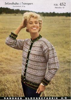 Seljordkofta Vintage Knitting, Hand Knitting, Knitting Patterns, Knitting Ideas, Norwegian Knitting, Nordic Style, Norway, Men Sweater, Knit Sweaters