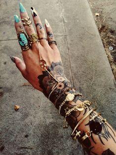 Tumblr / tattoo / jewels / ring / bangle / nails (Source : gypsyone, via thefashionfilth)