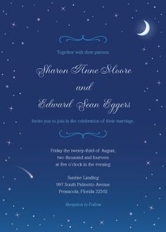 watercolor starry night wedding invites | Starry Night Save the ...