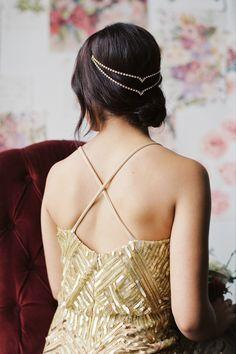 Double Draped V Headpiece - Gold, Silver, Pearl, Crystal - Danani handmade adornments