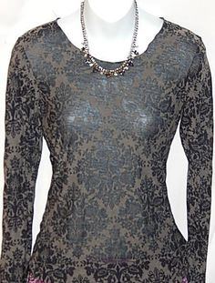 Curious Gypsy Black Gray Paisley Thin Sheer T-shirt Tee Knit Top Size S #CuriousGypsy #KnitTop #Casual