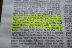 1 Peter 3:3 - perfect for every girl's bathroom/mirror!