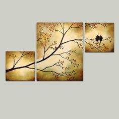 Original Tree Branch with Birds Triptych 36 x 20 Large Painting via Etsy by yy_sky