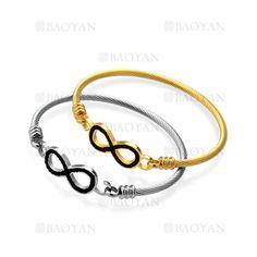 dos pulseras con ocho de moda de dos colores en acero-SSBTG1144501