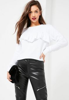 Be a basic babe in our white frill sweatshirt - ultimate winter warmer. Cami Crop Top, Crop Tops, Winter Warmers, Plus Size Tops, Missguided, No Frills, Casual Looks, Ruffle Blouse, Sweatshirts