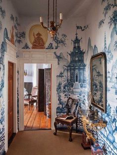 Foyer? painted in the Chinoiserie style.