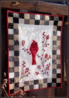 Redbird and Berries Mini Quilt « Moda Bake Shop. x I love winter cardinals Quilt Festival, Small Quilts, Mini Quilts, Wool Quilts, Lap Quilts, Vogel Quilt, Mini Quilt Patterns, Quilting Patterns, Sewing Patterns