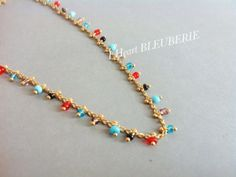 Multi coloured beads gold anklet by Bleuberie on Etsy, $14.00