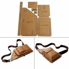 Chest Bag Sewing Pattern Hard Kraft Paper Stencil Template DIY Leather Fashion for sale online Leather Wallet Pattern, Sewing Leather, Leather Diy Crafts, Leather Bags Handmade, Diy Leather Projects, Costume Bags, Crea Cuir, Bag Patterns To Sew, Craft Patterns