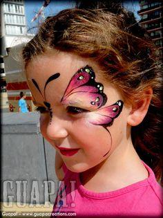 Girl Face Painting, Face Painting Designs, Body Painting, Face Paint Party, Animal Face Paintings, Butterfly Face Paint, Cheek Art, Animal Makeup, Face Paint Makeup