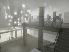 The design of this flexible event space in Miami, Florida is centered on a lighting installation in the atrium's double height space. As it moves into this area, the drywall lining that wraps around and within the existing building transforms into a series of draped monoliths, suspended from the ceiling in forms that distort the normal lighting grid of recessed fixtures into gathered clusters of intensifying light. A chandelier caught in a moment between dissolution and formation, the…