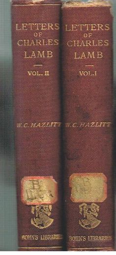 Letters of Charles Lamb by W. C.Hazlitt 1866 Complete in 2 Vol Nice Antique Book