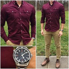Today felt like it needed a blast of color, so I decided to wear this awesome burgundy shirt with some tan chinos and boots. The temp also got up over 60 degrees , so I could actually roll up my sleeves for a change! Do you like this outfit❓ Shirt: @batchmens Chinos: @jachsny Boots: @thursdayboots Natural Captains Watch: @crownandcaliber Omega Seamaster Pro