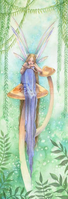Fairy in Sapphire Art Print Sitting on a Golden by sarambutcher, $16.00