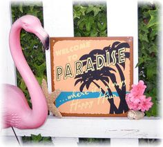 Paradise Happy Hour Tin Sign