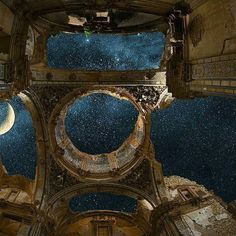 You can see thousands of stars through the open roof of this abandoned building in Spain
