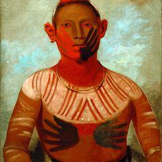 George Catlin, I-o-wáy, One of Black Hawk's Principal Warriors, detail, 1832, Sac and Fox, Smithsonian American Art Museum, Gift of Mrs. Joseph Harrison, Jr