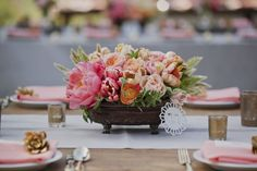 peonies, ranunculus, juliet roses, parrot tulips, mint and green bunny tail // wedding reception table centerpieces