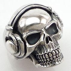 Headphones Skull Biker Ring