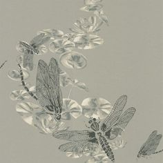 Dragonfly Pewter (BG0600201) - Barneby Gates Wallpapers - A beautiful design with a mixture of paint and line drawing featuring dragon flies hovering above lily pads on a shimmering silver background. Shown here in the pewter colourway. Other colourways are available. Please request a sample for a true colour match.
