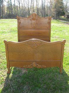 Beautiful Antique Victorian Golden Oak Full Size Oak Bed | eBay