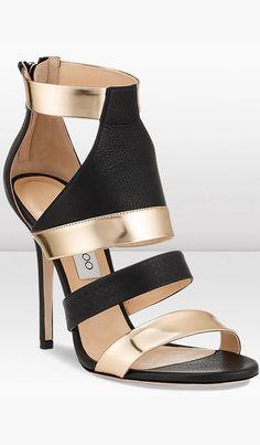 Black and Gold Jimmy Choo High Heel. Designer shoes | ankle strap heels #jimmychooheelsstilettos #goldanklestrapsheels #jimmychooheelsgold