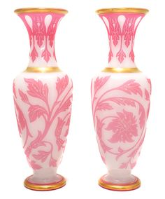 Pair of large French pink overlay vases, flowers, c.1840 For Sale | Antiques.com | Classifieds