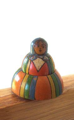 Antique Wooden Polish Folk Art Doll Inkwell