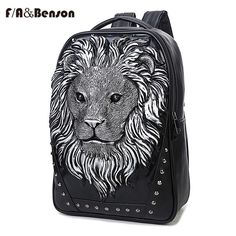 113.79$  Buy here - http://viepu.justgood.pw/vig/item.php?t=99w4ich42698 - Travel Bag 3D Print Lion Rivets Back Pack Teenagers Large Capacity Pu Schoolbag 113.79$