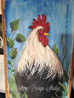 Building a Chicken Coop - Rooster farmhouse painting rooster painting by CottageDesignStudio Building a chicken coop does not have to be tricky nor does it have to set you back a ton of scratch. Rooster Painting, Rooster Art, Painting On Wood, Chicken Coop Decor, Building A Chicken Coop, Rooster Kitchen Decor, Rooster Decor, Chicken Painting, Chicken Art